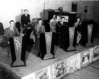 Stibnite Bond Dance, December 9, 1944. From left to right - Obie Snow, Wally Nelson, Roger McMurry, Bernice Snow, Homer Shaw, Eleanor Bartlett