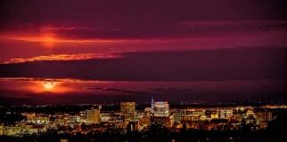 Moon rise over Boise Idaho